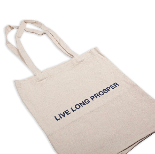 LIVE LONG TOTE BAG (TAN/NAVY)