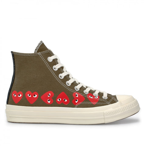 CDG X CONVERSE HIGH MULTI HEART (GREEN)