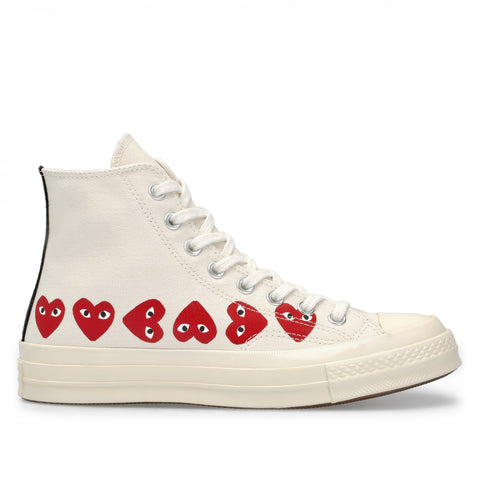 CDG X CONVERSE HIGH MULTI HEART (WHITE)