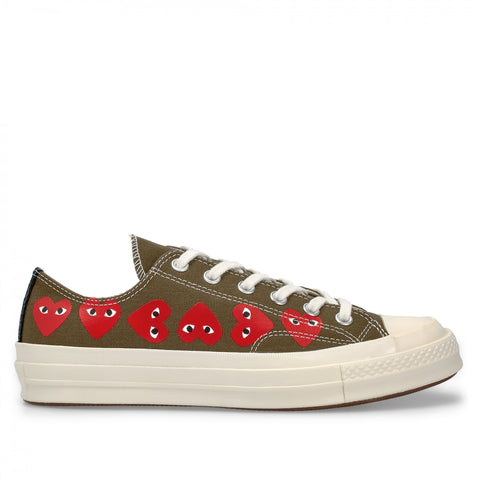 CDG X CONVERSE LOW MULTI HEART (GREEN)