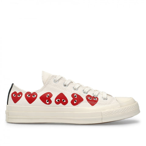 CDG X CONVERSE LOW MULTI HEART (WHITE)
