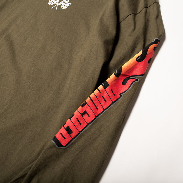 BURN OUT L/S TEE (Military Green)