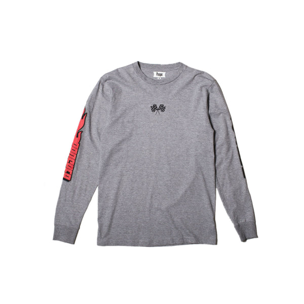 BURN OUT L/S TEE (Heather Grey)