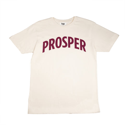 NECESSARY 2 S/S TEE (CREAM/PLUM CASPIA)