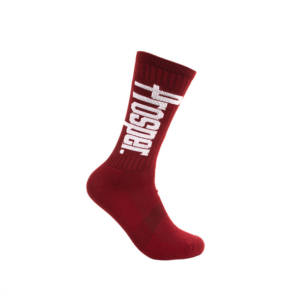PROSPER CREW 3 SOCKS (CARDINAL RED/WHITE)