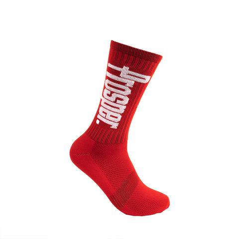 PROSPER CREW 3 SOCKS (SCARLET RED/WHITE)