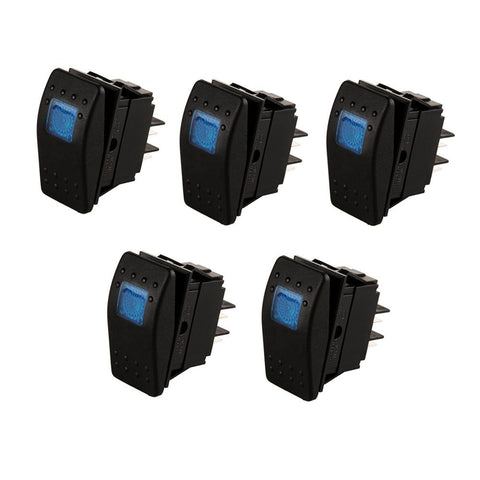 5-pack of 20 Amp 12 Volt LED ON-OFF Rocker Switch Toggle Triangle Plug Switch For Car Motorcycle Boat Marine