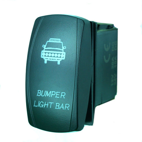 """BUMPER LIGHT"" Laser Backlit Blue Rocker Switch 20A 12V On/off LED Light"