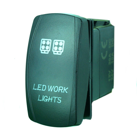 """LED WORD LIGHT"" Laser Backlit Blue Rocker Switch 20A 12V On/off LED Light"