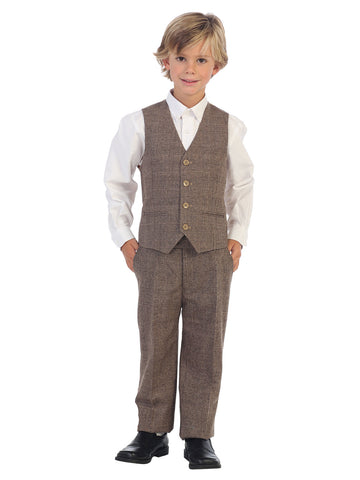 Gioberti Boy's Long Sleeve Dress Shirt and Plaid Tie Accessories Set, Banana