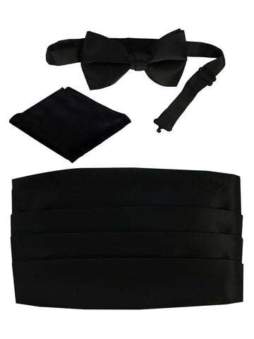Gioberti Men's Satin Bow Tie, Pocket Square, and Cummerbund Set