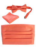 men's bow tie, pocket square, and cummerbund set