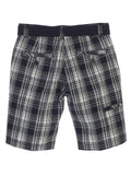 Gioberti Boys Plaid Shorts With Front Button & Zipper, Black / White