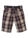 Gioberti Boys Plaid Shorts With Front Button & Zipper, Brown / Charcoal