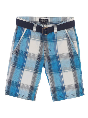 Gioberti Boys Plaid Shorts With Front Button & Zipper, Turquoise White