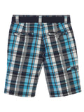 Gioberti Boys Plaid Shorts With Front Button & Zipper, Cyan / Black