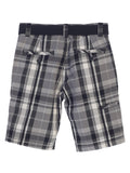 Gioberti Boys Plaid Shorts With Front Button & Zipper, Gray / Charcoal