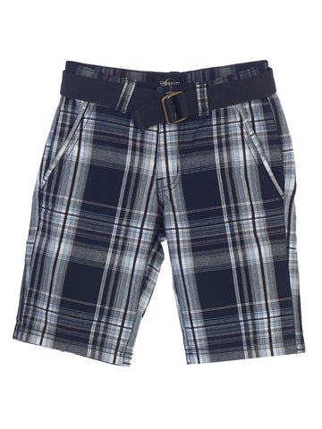 Gioberti Boys Plaid Shorts With Front Button & Zipper, Navy / Arctic