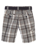 Gioberti Boys Plaid Shorts With Front Button & Zipper, Gray / Brown Line