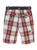 Gioberti Boys Plaid Shorts With Front Button & Zipper, Orange Band / White