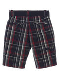 Gioberti Boys Plaid Shorts With Front Button & Zipper, Red Highlight / Black