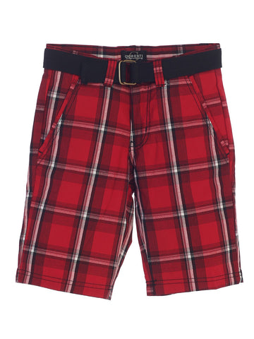 Gioberti Boys Plaid Shorts With Front Button & Zipper, Red / White Striped