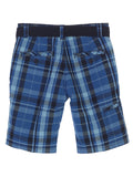 Gioberti Boys Plaid Shorts With Front Button & Zipper, Blue / Navy Striped