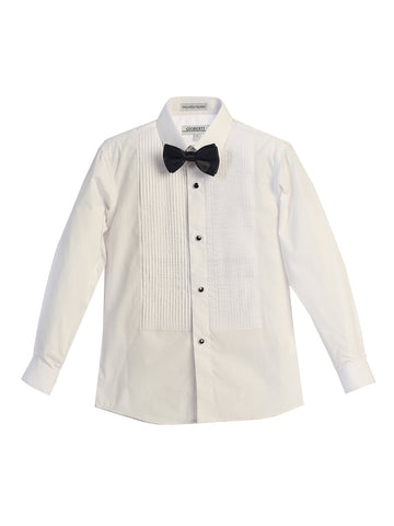 Gioberti Boy's Formal Tuxedo White Shirt with Bow Tie