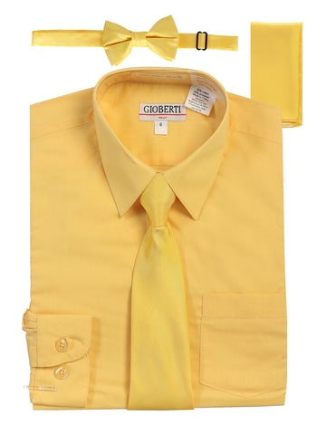Gioberti Boy's Long Sleeve Dress Shirt and Solid Tie Set, Banana