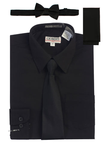Gioberti Boy's Long Sleeve Dress Shirt and Solid Tie Set, Black