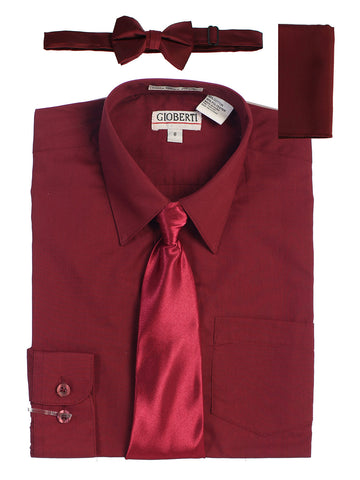 Gioberti Boy's Long Sleeve Dress Shirt and Solid Tie Set, Burgundy