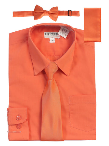 Gioberti Boy's Long Sleeve Dress Shirt and Solid Tie Set, Coral