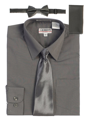 Gioberti Boy's Long Sleeve Dress Shirt and Solid Tie Set, D Gray