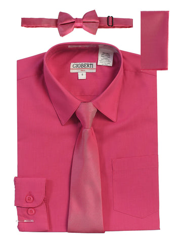 Gioberti Boy's Long Sleeve Dress Shirt and Solid Tie Set, Fuchsia