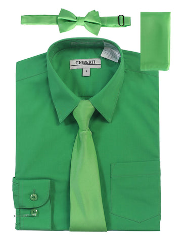 Gioberti Boy's Long Sleeve Dress Shirt and Solid Tie Set, Green