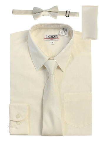 Gioberti Boy's Long Sleeve Dress Shirt and Solid Tie Set, Ivory