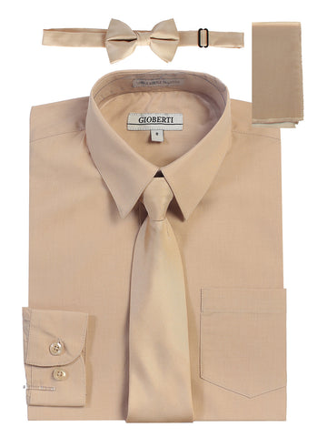 Gioberti Boy's Long Sleeve Dress Shirt and Solid Tie Set, Khaki