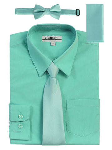 Gioberti Boy's Long Sleeve Dress Shirt and Solid Tie Set, Mint B