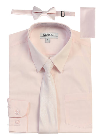 Gioberti Boy's Long Sleeve Dress Shirt and Solid Tie Set, Pink