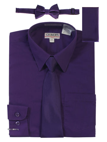 Gioberti Boy's Long Sleeve Dress Shirt and Solid Tie Set, Purple B