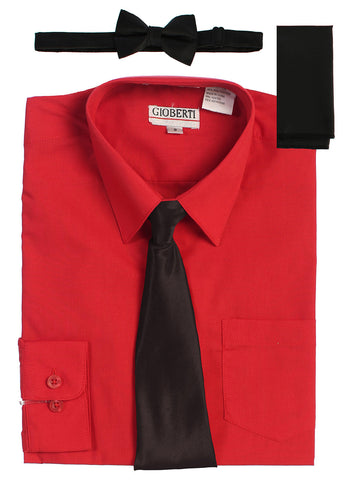 Gioberti Boy's Long Sleeve Dress Shirt and Solid Tie Set, Red w/ Black Tie Set