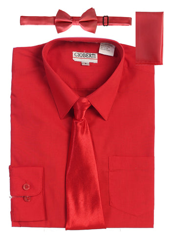 Gioberti Boy's Long Sleeve Dress Shirt and Solid Tie Set, Red