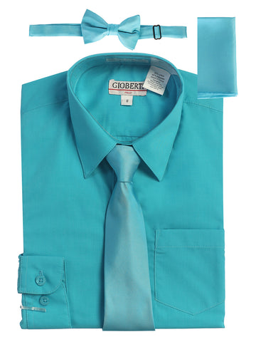 Gioberti Boy's Long Sleeve Dress Shirt and Solid Tie Set, Teal