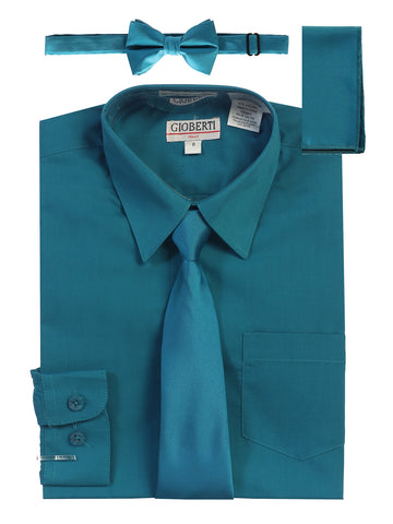 Gioberti Boy's Long Sleeve Dress Shirt and Solid Tie Set, Teal Green