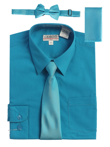 Gioberti Boy's Long Sleeve Dress Shirt and Solid Tie Set, Turquoise