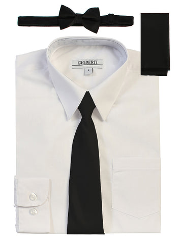 Gioberti Boy's Long Sleeve Dress Shirt and Solid Tie Set, White w/ Black Tie Set
