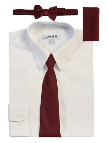 Gioberti Boy's Long Sleeve Dress Shirt and Solid Tie Set, White w/ Burgundy Tie Set