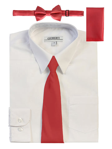 Gioberti Boy's Long Sleeve Dress Shirt and Solid Tie Set, White w/ Red Tie Set
