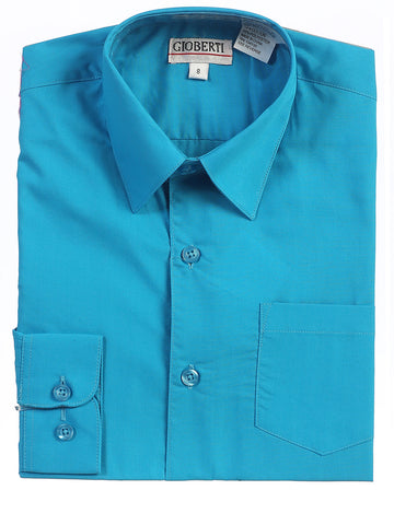Gioberti Boy's Solid Long Sleeve Dress Shirt, Turquoise B