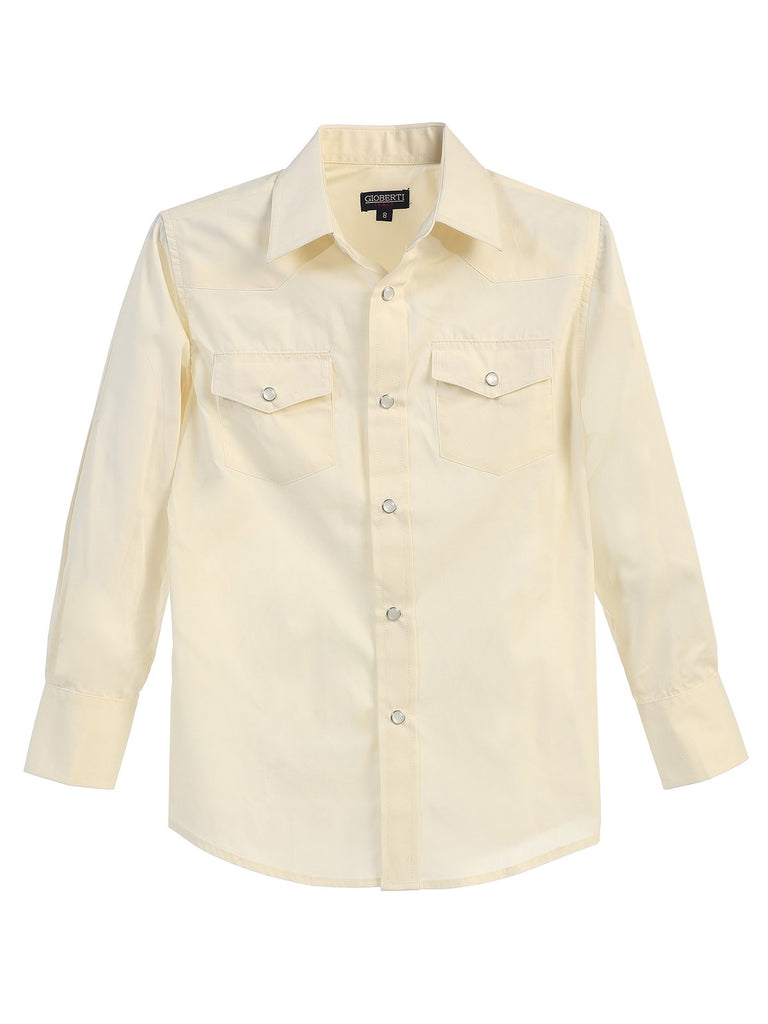 Boys Casual Western Long Sleeve Pearl Snaps Shirt